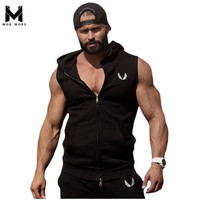 Men Cotton Hoodie Sweatshirts Fitness Clothes Gym Bodybuilding Tank Top Men Sleeveless Sport Tees Shirt Casual