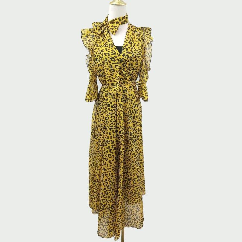 Femmes robes 2019 été nouveau imprimé léopard jaune bleu v-cou arc long slim dame élégante mousseline ruffles robes top qualité
