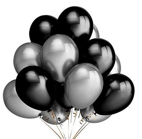 dekorasi balon pesta, 100 pack 10 inch perak & hitam balon