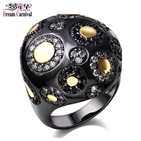 DreamCarnival1989 Dome Round Black Gold Color Jet And White Bohemia Cocktail Rings For Women Vintage Party