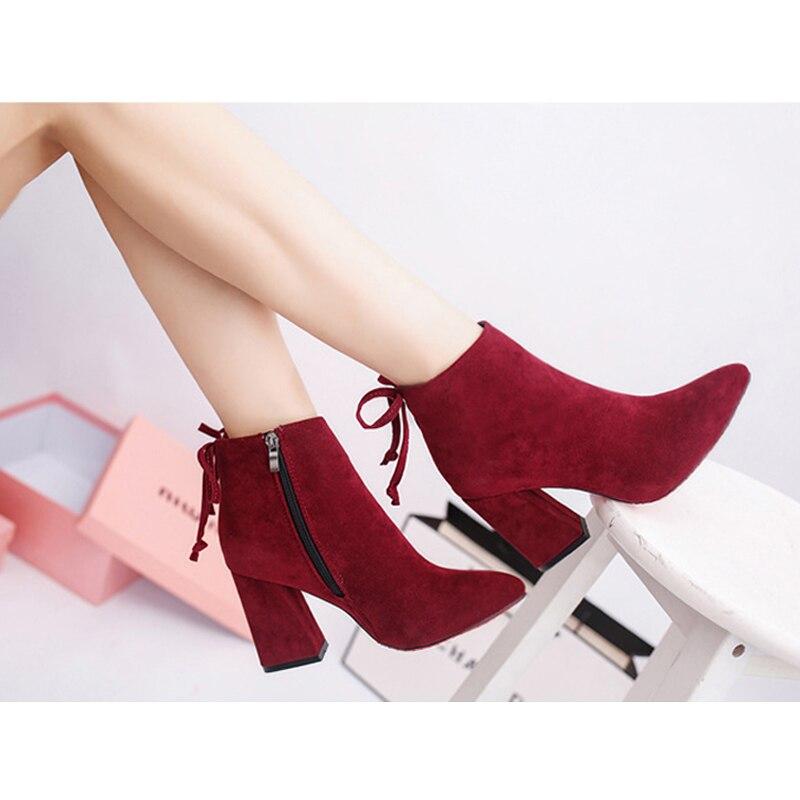 1d11bf3edecf6 QUANZIXUAN Autumn Winter Women High Heel Boots 2018 Fashion Point Toe High  Heel Shoes Women Ankle Boots Women Shoes Size 35 45-in Ankle Boots from  Shoes on ...