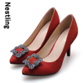 New 2016 Spring Fashion Wedding Shoes High Quality Nubuck Leather Shining Rhinestone Women Pumps High Heels Party Shoes D45
