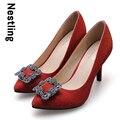 Nuevo 2016 de La Moda de Primavera Zapatos de Cuero Nobuck de Alta Calidad de La Boda Brillante Rhinestone Mujeres Bombas Tacones Altos Zapatos de Fiesta D45