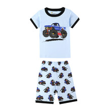 boys short sleeve suv cars pajamas children's clothing kids truck excavator airplane sleepwear baby girls unicorn pyjamas pijama(China)