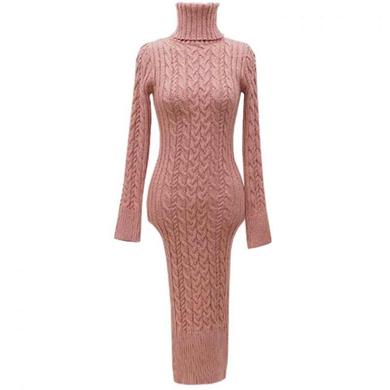 Năm 2019 Nữ Thu Đông Tay Dài Gợi Cảm Bodycon Áo Len Màu Đầm Dệt Kim Cao Cổ Slim Chia HEM