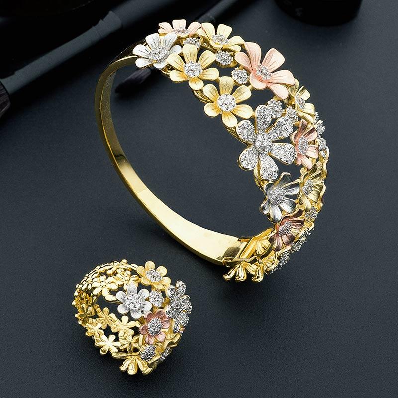 ModemAngel luksusowe kwiaty liść trzy Tone miedzi Engagement Party prezent bransoletki i pierścień zestaw dla kobiet w Zestawy biżuterii od Biżuteria i akcesoria na  Grupa 3