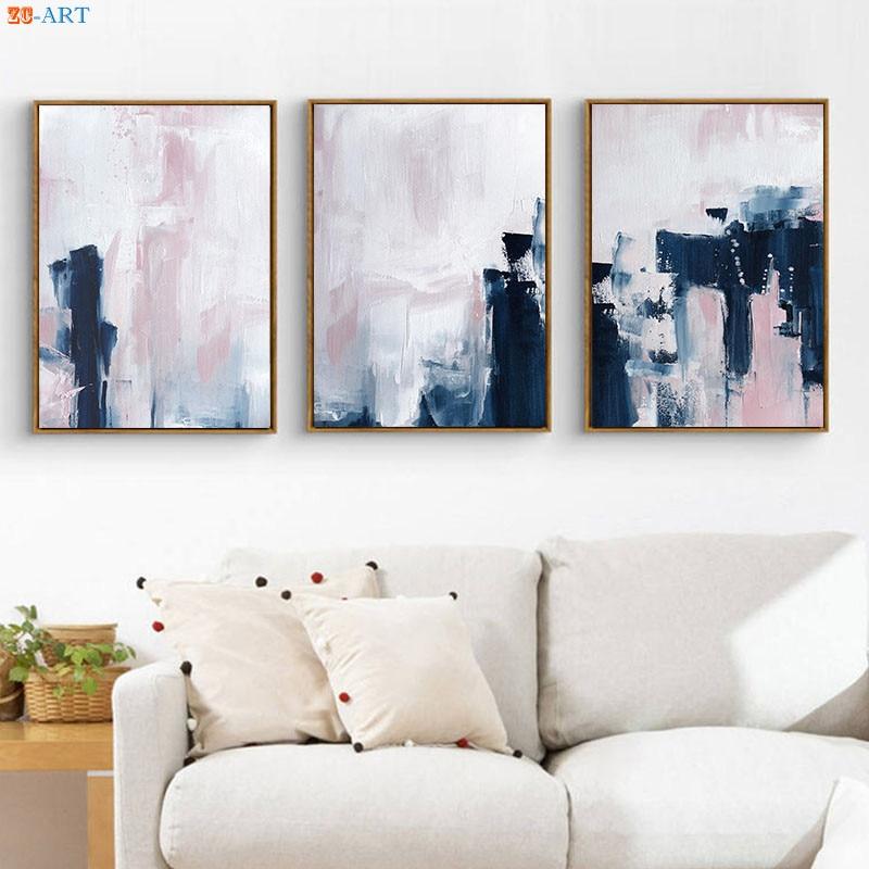 Moderne Leinwand Malerei Rosa Navy Blau Wand Kunst Abstrakte Kunst Poster Und Drucke Wand Bilder Fur Wohnzimmer Kindergarten Home Decor