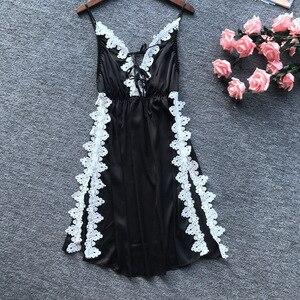 Image 5 - Daeyard סקסי משי הלבשה תחתונה תחרה נשים הלבשת אלגנטי אפליקציות לילה שמלה כתונת לילה סקסי גבוה פיצול Nightwear Slim Homewear
