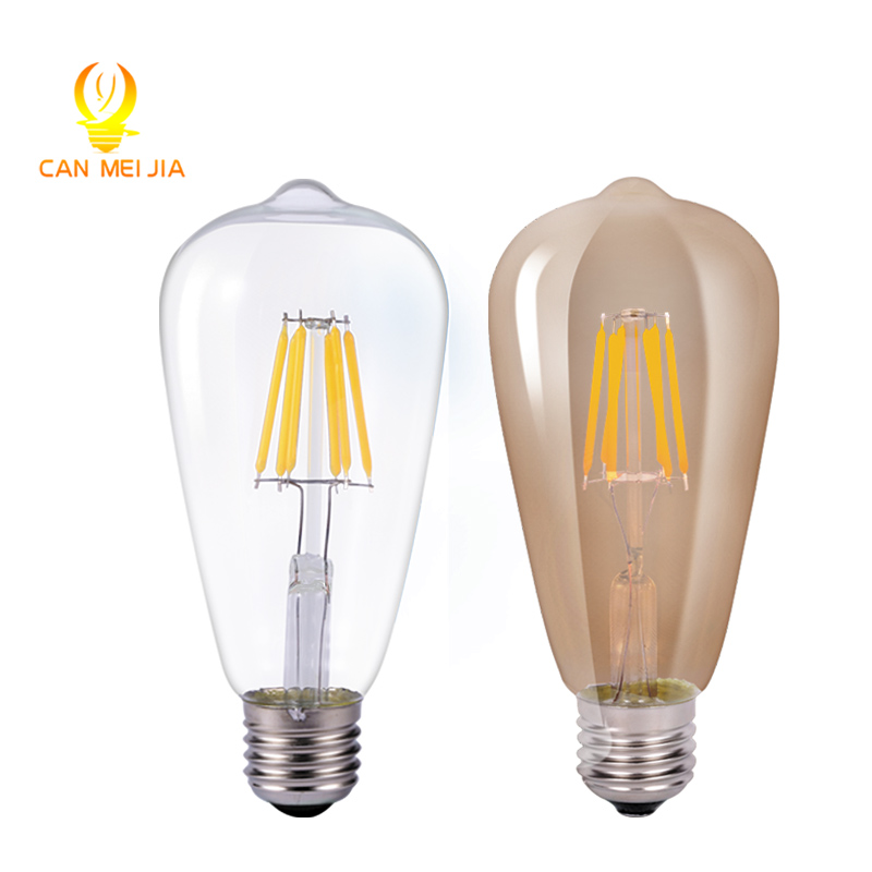 Canmeijia led e27 220V 2W 4W 6W 8W LED Retro Light Bulbs LEDs Edison Bulb Lights ST64 Filament Glass Ball Lamp Warm White 1x new design led filament e14 bulb dmimable 2w 4w 6w ac 220v 230v lamp edison glass candle lights lighting for chandelier