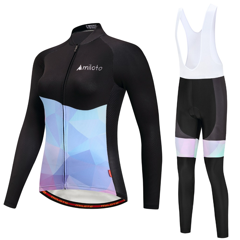 Women Cycling Jersey Sets Long Sleeve Female Autumn Ropa Ciclismo Bike Clothing Maillot Breathable Bicycle Pants Pad Black Blue