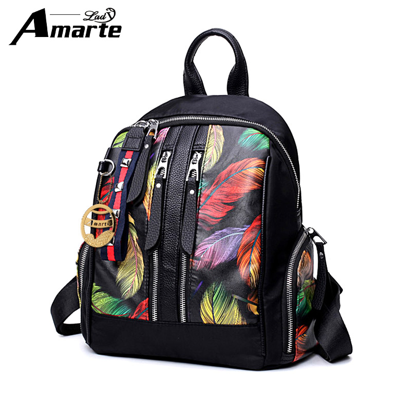 Amarte Nylon+PU Backpack Female Black Women Bag Bags for 2019 New Design Backpacks Adolescent Printing Bacpack