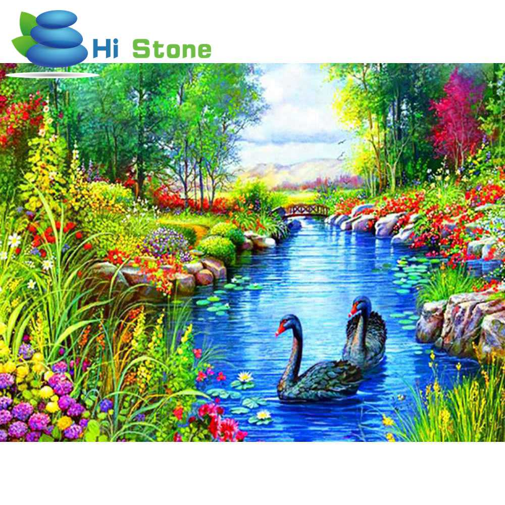 2018 Latest 5D DIY Diamond Paintings, Black Swan River Resin crystal Diamond Embroidered Cross Stitch Suite Home Decor