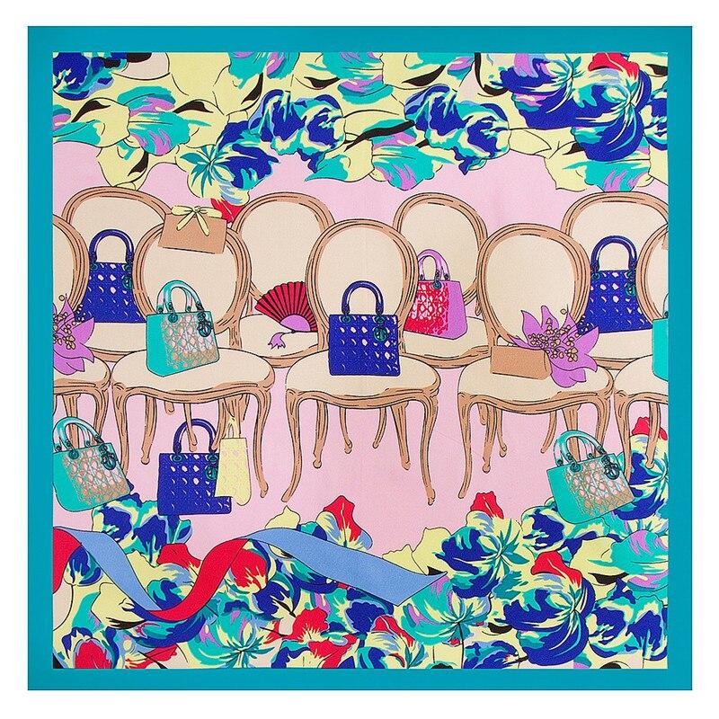 60cm*60cm 2020 Luxury Brand Bag Chair Stool Print Women Twill Silk Scarf Small Square Scarves New Fashion Hijab Headband