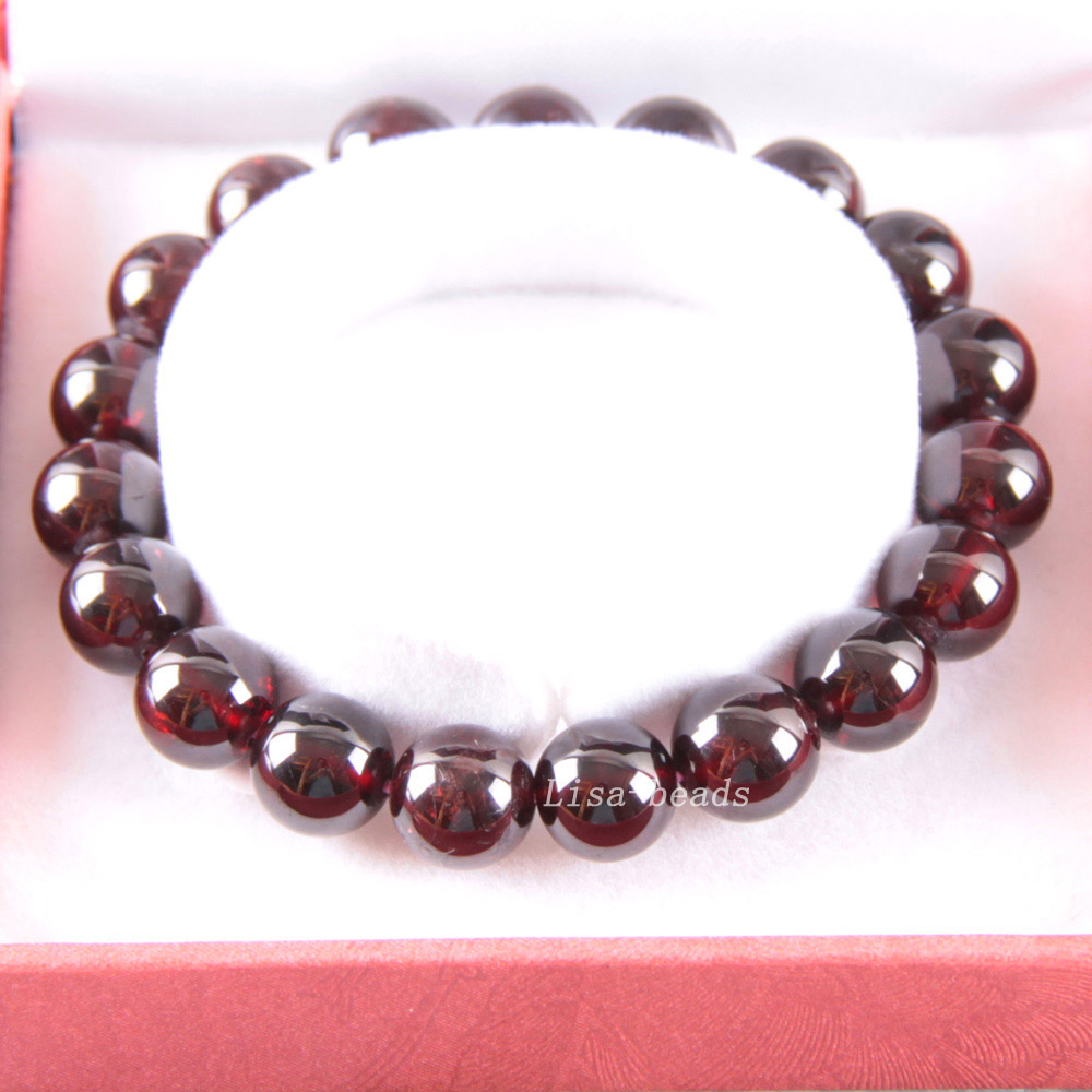Free Shipping Fine Jewelry Stretch Red Round Beads 10MM AA 100% Natural Garnet Bracelet 7