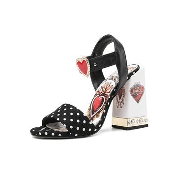 Pearled Crystal Black Round Dot High Heels Gladiator Sandals Love Heart Flowers Embellished Women Pumps Summer Wedding Shoes