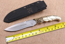 Outdoor Fox Knives 5Cr15Mov Blade Hunting Fixed Knife Copper Handle Tactical Knife Outdoor Camp Survival EDC Tools K Sheath CSgo