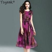 Tcyeek Silk Dress Women Print Purple Party Dress Elegant Long Slim Summer Beach Dress Vintage Dresses Plus Size Vestidos LWL1463