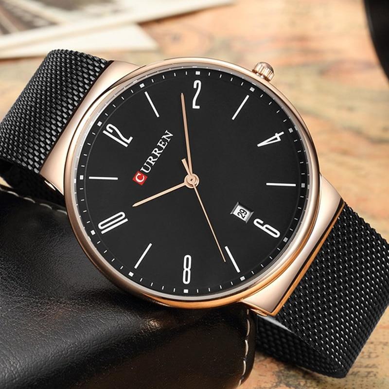 Curren moda simple de lujo marca Curren reloj de cuarzo hombres de acero inoxidable malla Correa Delgado reloj casual reloj Fecha