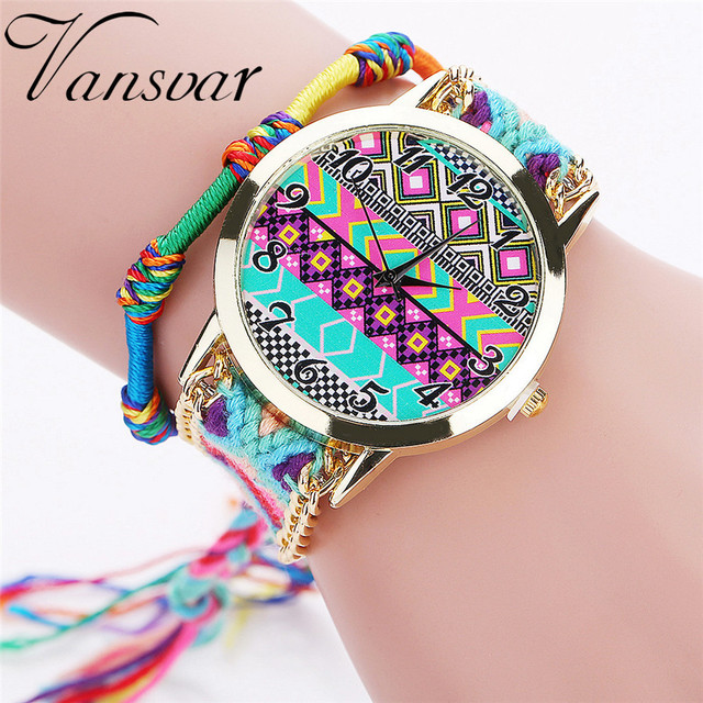 Vansvar Brand Women Fashion Handmade Braided Aztec Watch Rope Ladies Quartz Wris