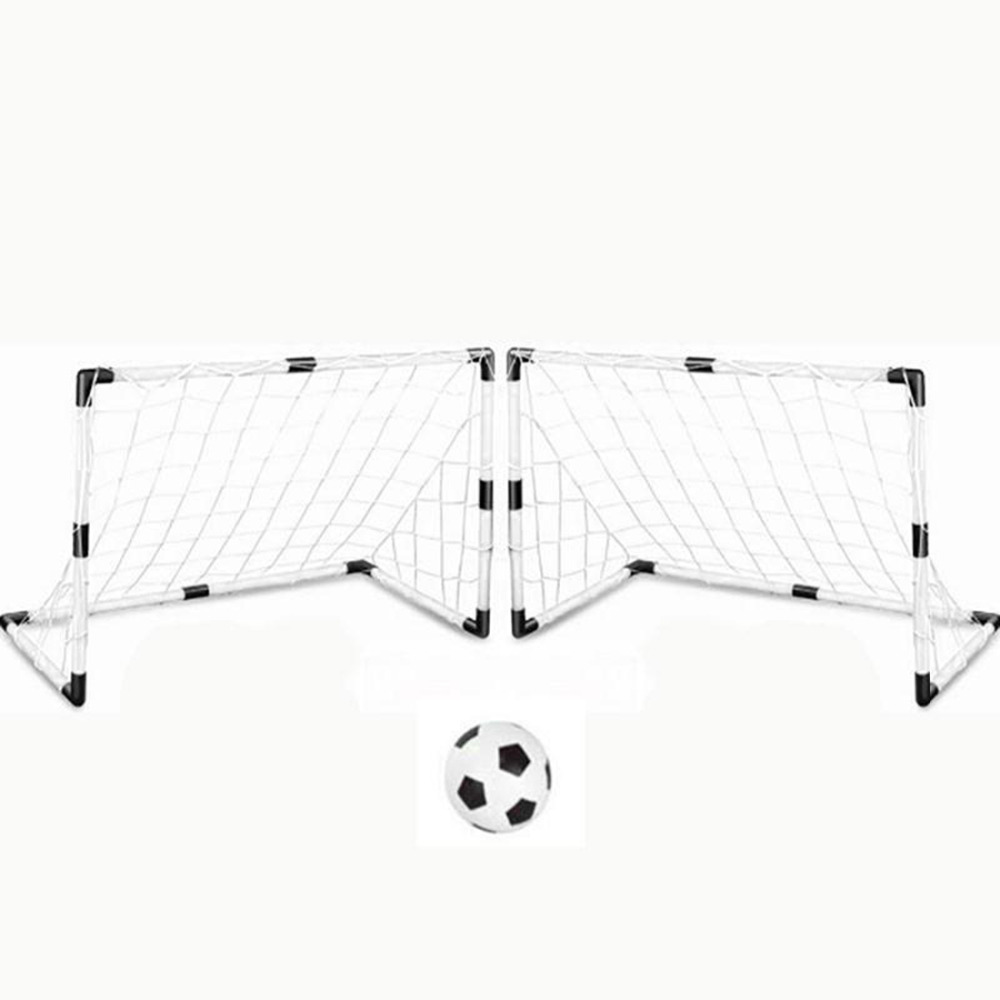 2 Sets DIY Children Sports Soccer Goals with Soccer Ball and Pump Practice Scrimmage Game Football Gate DIY White Gift For Kids цена
