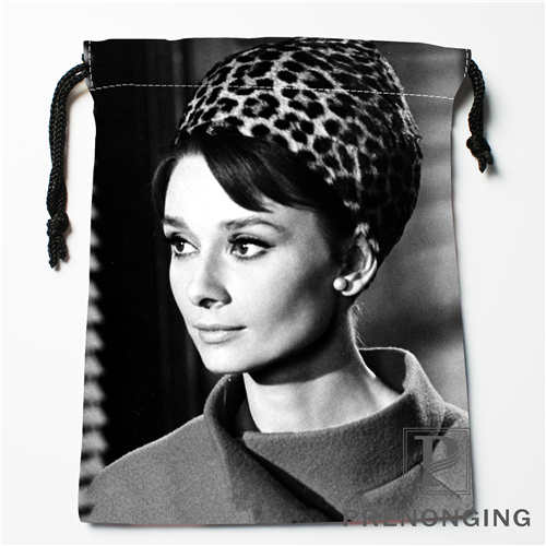 Custom Audrey Hepburn  Drawstring Bags Printing Fashion Travel Storage Mini Pouch Swim Hiking Toy Bag Size 18x22cm #171208-28