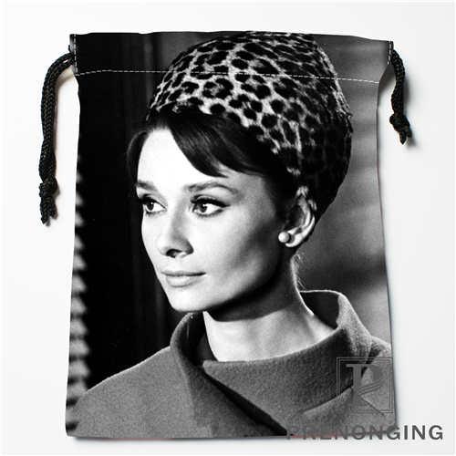 Custom Audrey Hepburn  Drawstring Bags Printing Fashion Travel Storage Mini Pouch Swim Hiking Toy Bag Size 18x22cm #171208-28
