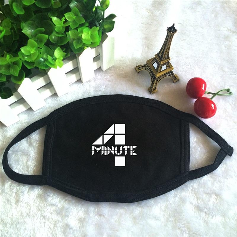 Kpop 4minute Album Logo Print K-pop Fashion Face Masks Unisex Cotton Black Mouth Mask