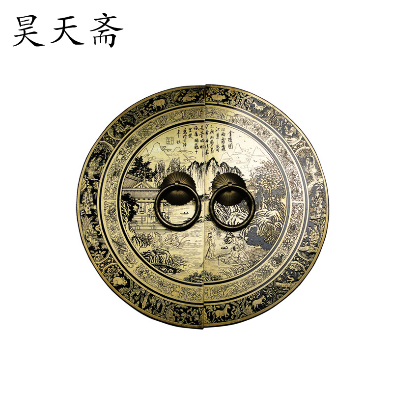 [Haotian vegetarian] Ming and Qing antique Chinese bronze copper fittings copper door handle Jinling Figure HTB-155
