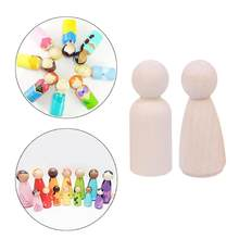 1Pcs Unfinished Wooden Doll Hand DIY Plain Blank Wooden Peg Dolls Paint Male Wooden Doll Peg Natural Female for Kids Toy(China)