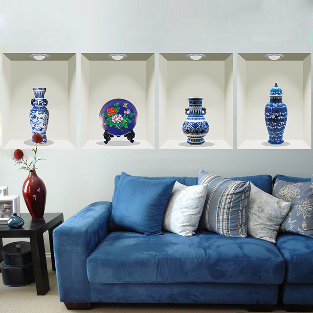 3d vintage blue and white porcelain wall sticker creative wall