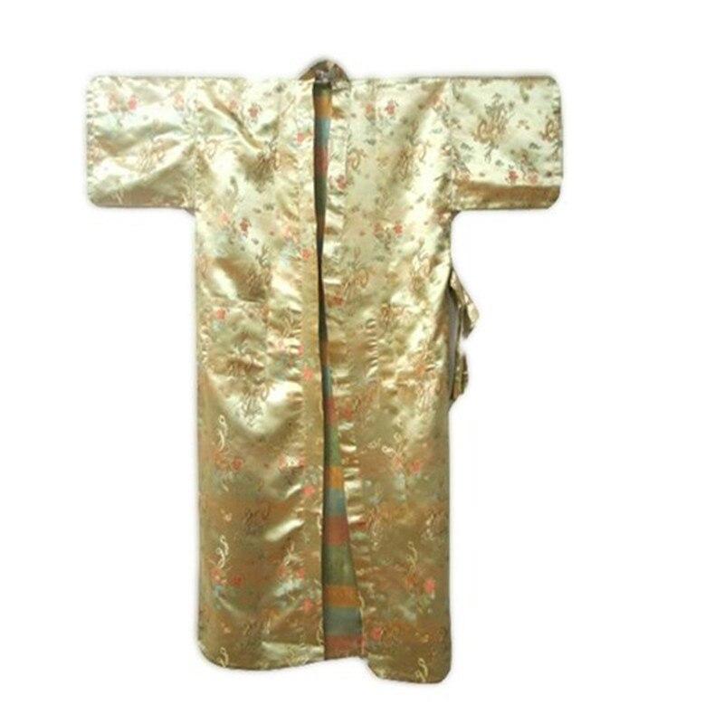 New Gold Chinese Mens Silk Satin Bathrobe Traditional Dragon Printed Nightwear Casual Robe Gown Size S M L XL XXL  ZR27