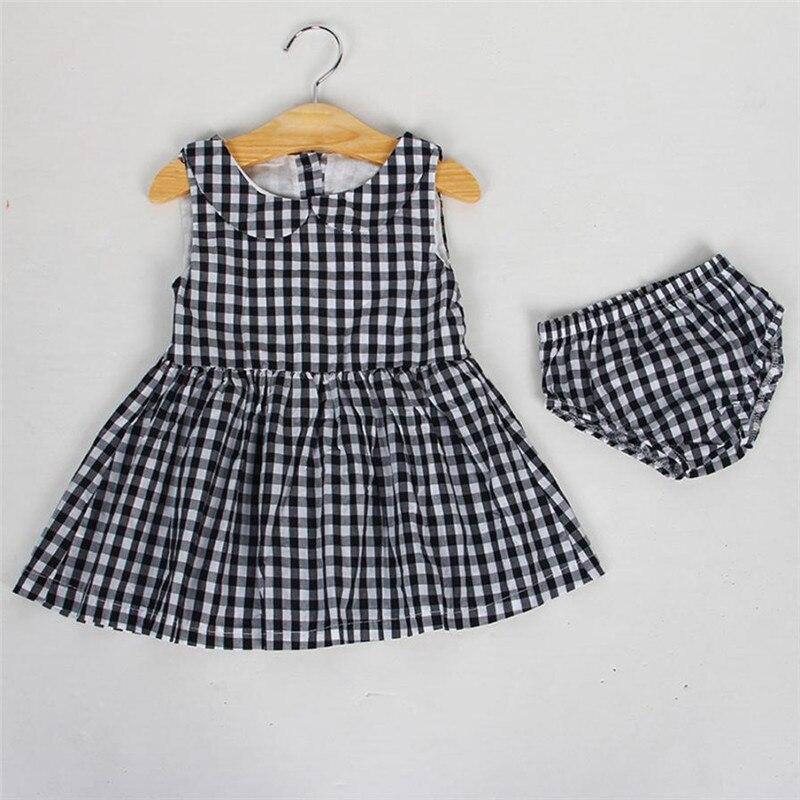 Детский комплект летний комплект для девочек 2 шт. для маленьких мальчиков кукла воротник платье в клетку + Короткие штаны 1 компл. Комплект д...