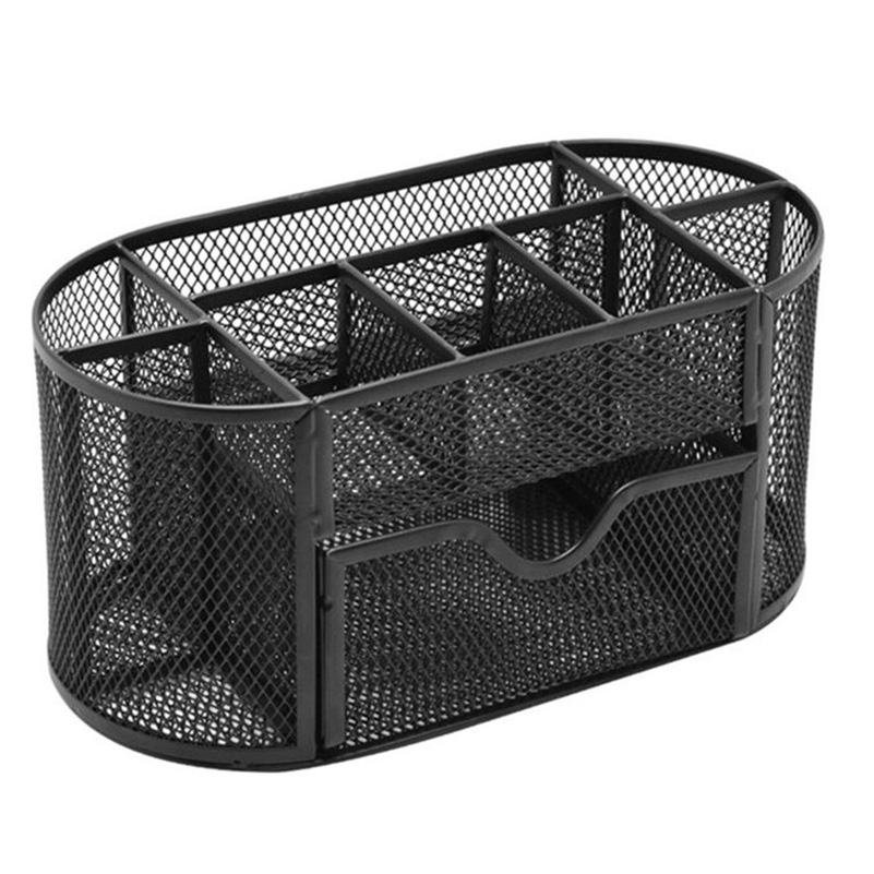 Desk Supplies Organizer Caddy,Multi-Function Mesh Oval Pencil Cups Pen Holder Container Box durable office desk pen ruler pencil holder cup mesh organizer container new pen holder desk organizer a30
