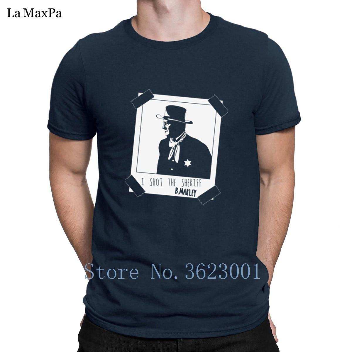 Проектирование Забавный футболка для Для мужчин я снимал шерифа футболка человек Фирменные Твердые Цвет футболка известный футболка Новин...