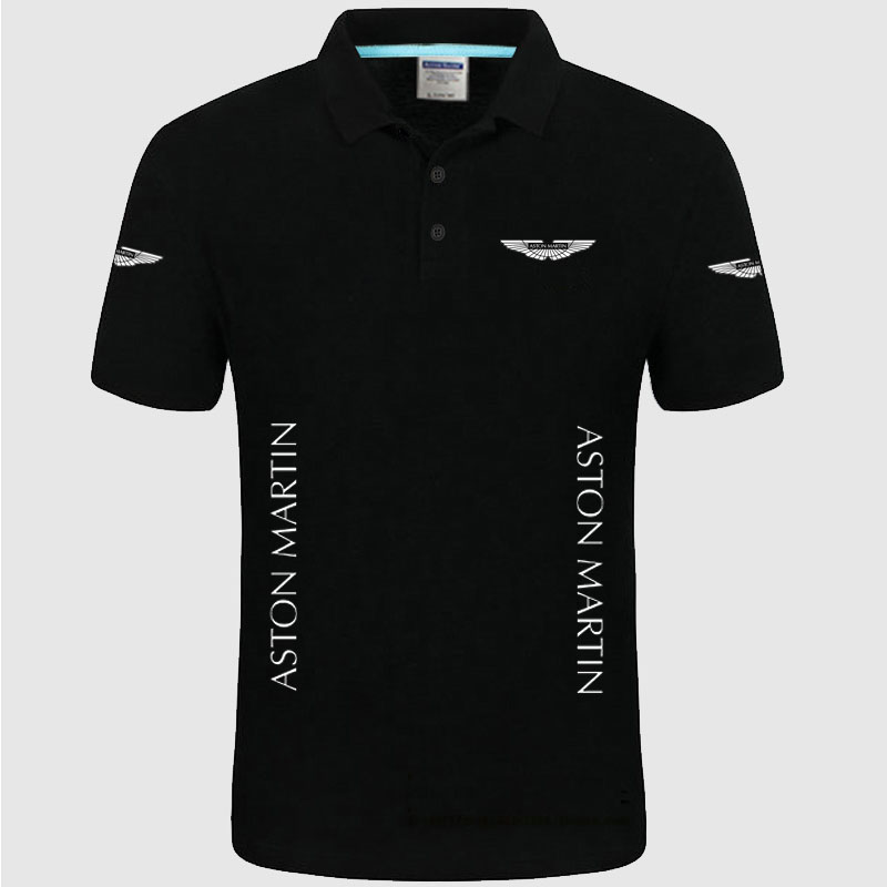 High quality Aston Martin logo   Polo   classic brand Men   Polo   Shirt Men Casual solid Short Sleeve cotton   polos