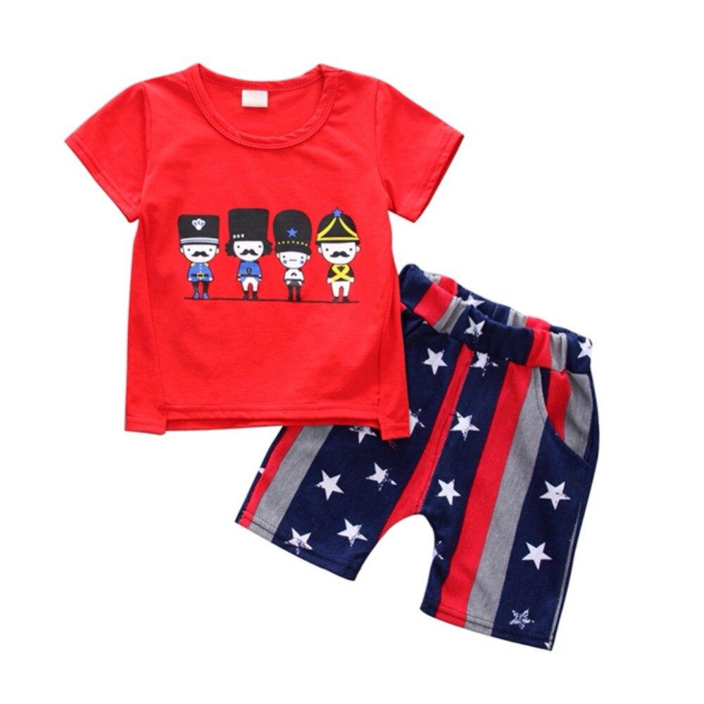 WEIXINBUY/Детские комплекты для девочек и мальчиков из хлопка с принтом летние шорты Милые комплекты костюм для 6 Months-4T