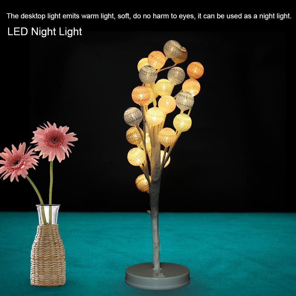 24LED Cotton Ball Tree Night Light Romantic Desk Night Lamp Home Bedroom Wedding Partry Decorative Indoor Lighting Luminarias