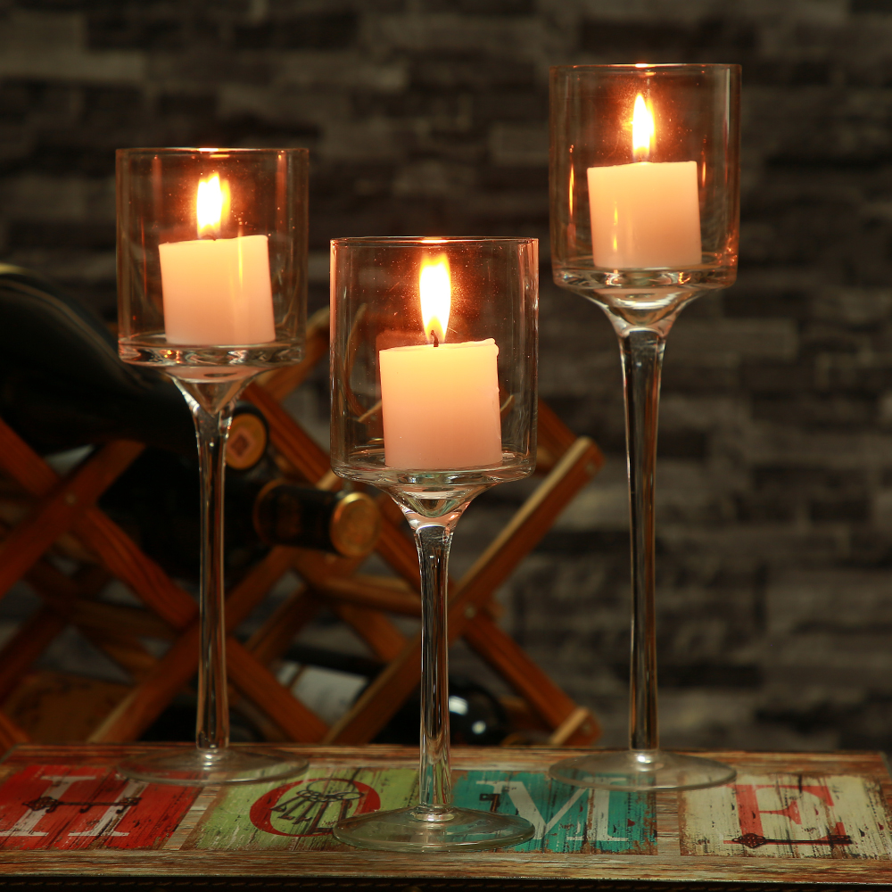 3pcs Set Crystal Candle Holder Gl