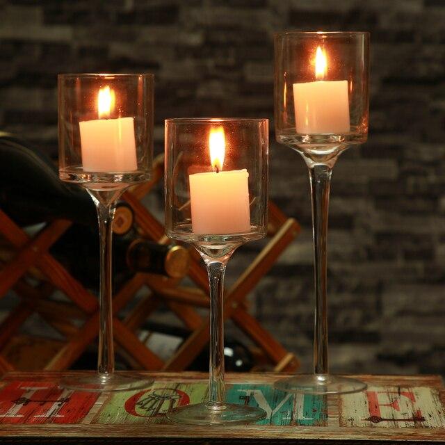 US $27.19 20% OFF|3 stücke Set Kristall Kerzenhalter Glas Kerzen  Kerzenhalter Hochzeit Ideen Romantische Home Bar Party Dekoration Ornamente  ...