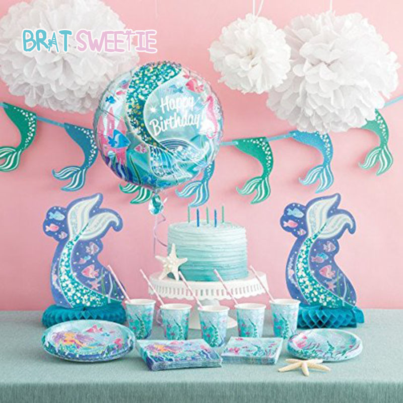 Mermaid Party Disposable Tableware Set Mermaid Napkins Plates Cups Baby Girls Happy Birthday Banner Party Decorations Balloons