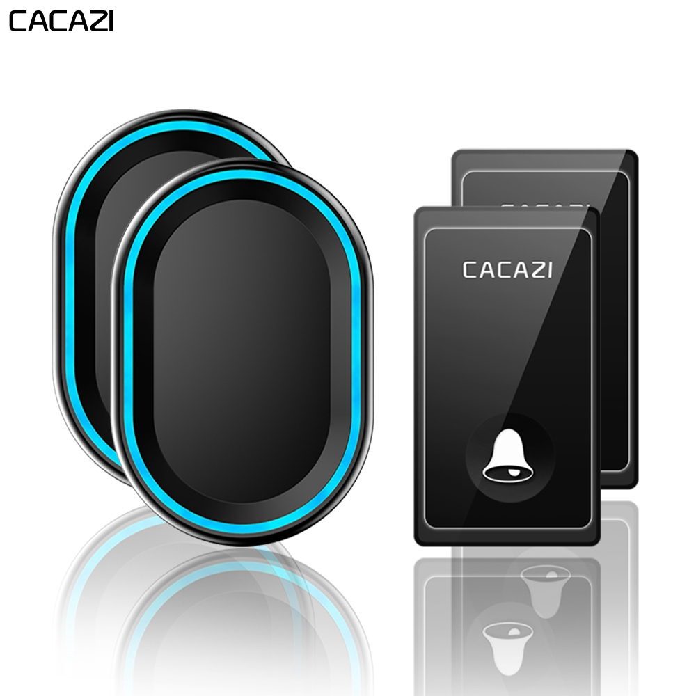 CACAZI Self-powered Wireless Doorbell 58 Chimes Waterproof 2 Button 2 Receiver US EU UK Plug No Battery Required Home Call bellCACAZI Self-powered Wireless Doorbell 58 Chimes Waterproof 2 Button 2 Receiver US EU UK Plug No Battery Required Home Call bell