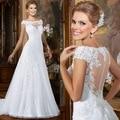 vestido de casamento White Lace Wedding gown 2015 scoop neck applique wedding dress Cap Sleeve Sheath Bridal Gowns