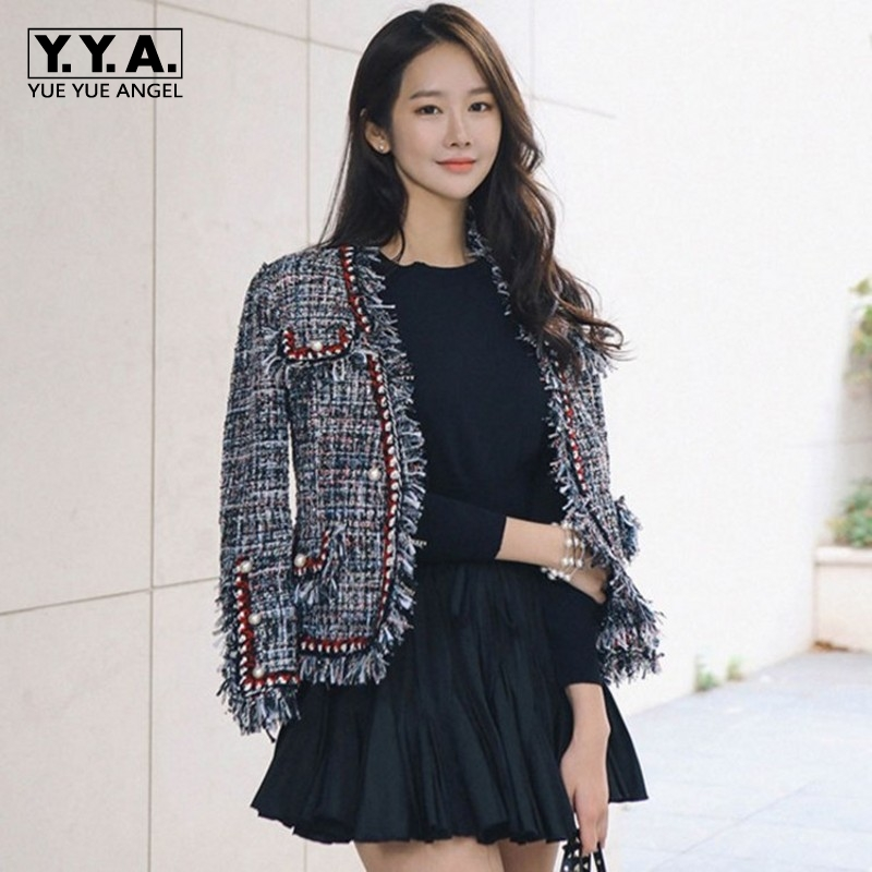 High Quality Tweed Jacket Ladies 2019 Runway Coat Autumn Winter Women Tweed Jackets Coats Tassel Pearl Patchwork Top Overcoats
