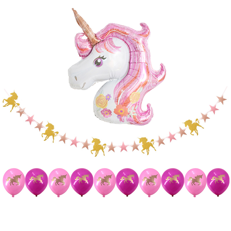 Gold Unicorn Party Set Disposable Tableware Sets Pink Unicorn Foil Balloons Paper Garland Cake Topper Birthday party Supplies in Disposable Party Tableware from Home Garden