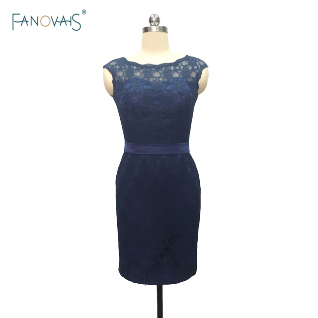 Top Quality Navy Blue cap sleeve open back lace short bridesmaid ...