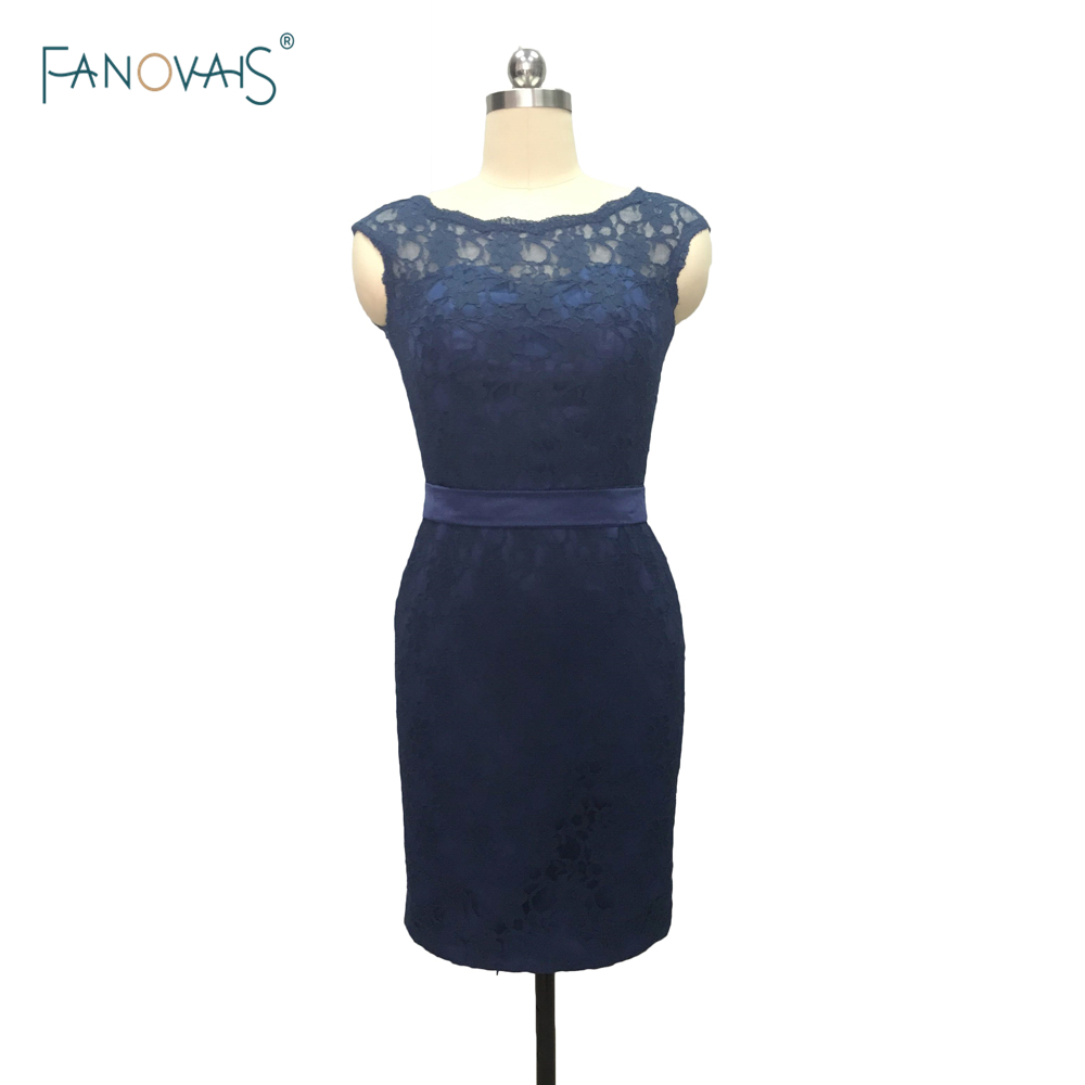 Top Quality Navy Blue cap sleeve open back lace short   bridesmaid     dresses   with sashes Knee-Length brautjungfernkleider BMD210