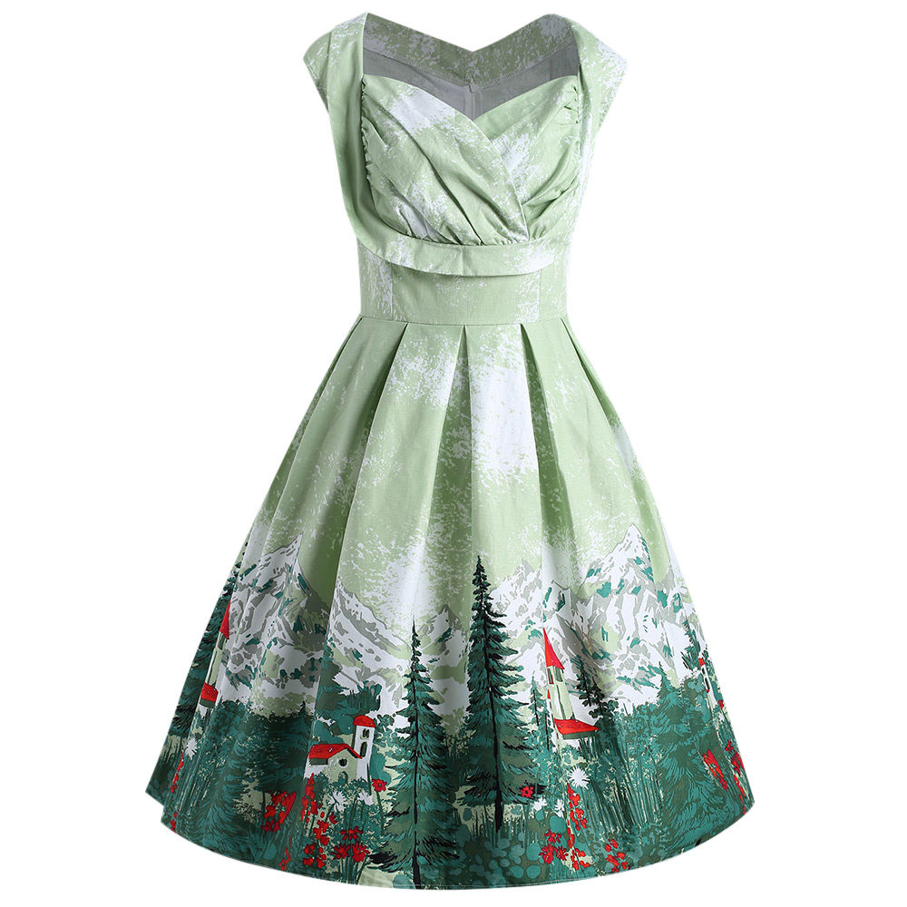 05f565a167b Gamiss Women Vintage Ruched Forest Print Plus Size Dress Tonval Green V  Neck Sexy Party Sleeveless Dresses Big Size 5XL Vestidos