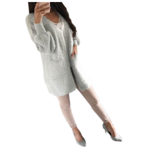 Womens Fashion Sweater Cardigan New Winter Long Sleeve with pocket Loose Solid Cardigan female Basic Jacket Coat