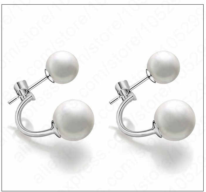 Women Stud Earring Sets Girls Jewelry Lady Nijoux Real 925 Sterling Silver Noble Pearl Pair Classic Business Occasion Wear