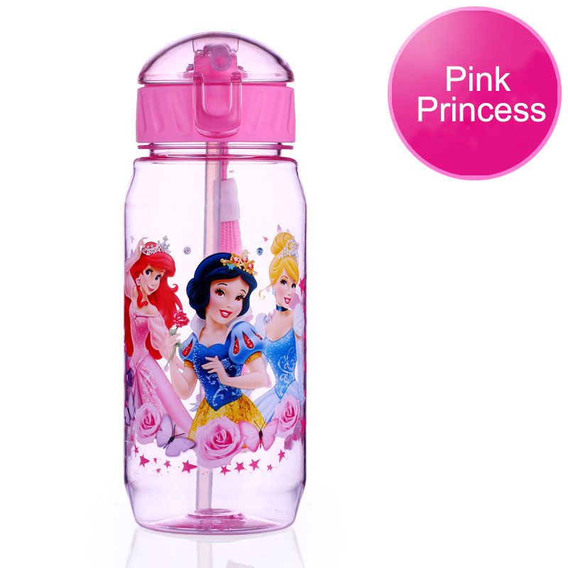 Disney 17 Children Straw Plastic Water Bottle BPA Free Lovely Cartoon Eco-friendly With lid Portable Camp Student Water tumble 16